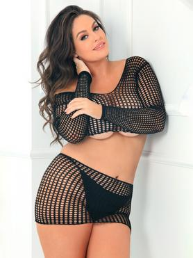 Rene Rofe Plus Size Black Crochet Lace Top and Mini Skirt Set