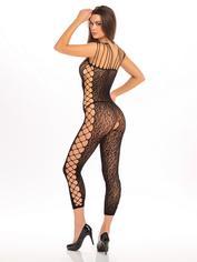 Rene Rofe Black Sheer Leopard Print Crotchless Bodystocking, Black, hi-res