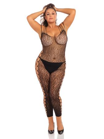 Rene Rofe Plus Size Black Sheer Leopard Print Crotchless Bodystocking
