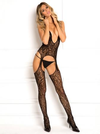 Rene Rofe Black Lace Plunge Crotchless Bodystocking