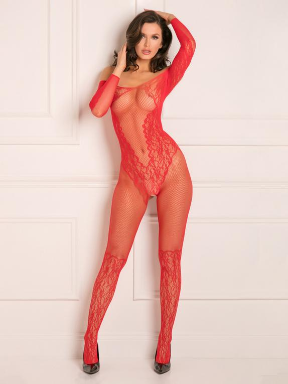 Rene Rofe Red Fishnet and Lace Bardot Neckline Crotchless Bodystocking, Red, hi-res