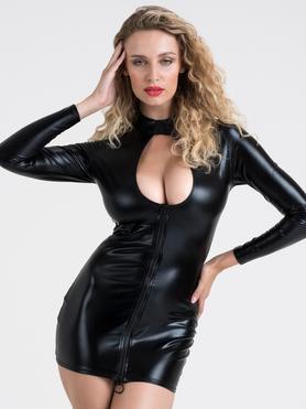 Lovehoney Fierce Wet Look Cut-Out Mini Dress