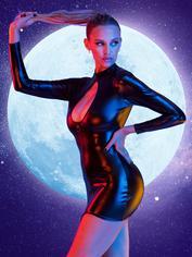 Lovehoney Fierce Wet Look Cut-Out Mini Dress, Black, hi-res