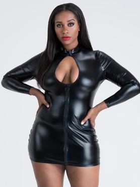 Lovehoney Plus Size Fierce Wet Look Long Sleeve Cut-Out Mini Dress