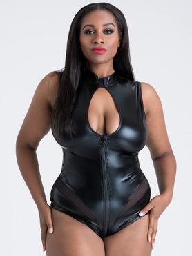 Lovehoney Plus Size Fierce Wet Look Zip-Around Cut-Out Body
