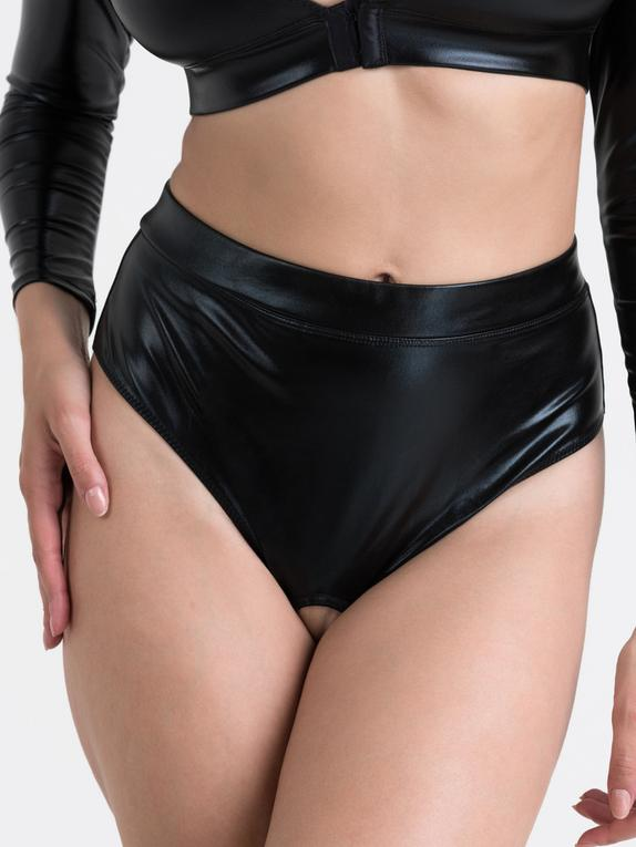 Lovehoney Fierce Wet Look Cut-Out Crotchless Thong, Black, hi-res