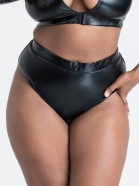 Lovehoney Plus Size Fierce Wet Look Cut-Out Crotchless Thong