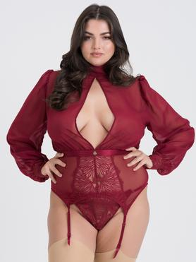 Fifty Shades of Grey Captivate Plus Size Chiffon Corsagen-Set (weinrot)