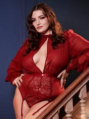 Fifty Shades of Grey Captivate Wine Chiffon High Neck Basque Set, Red, hi-res