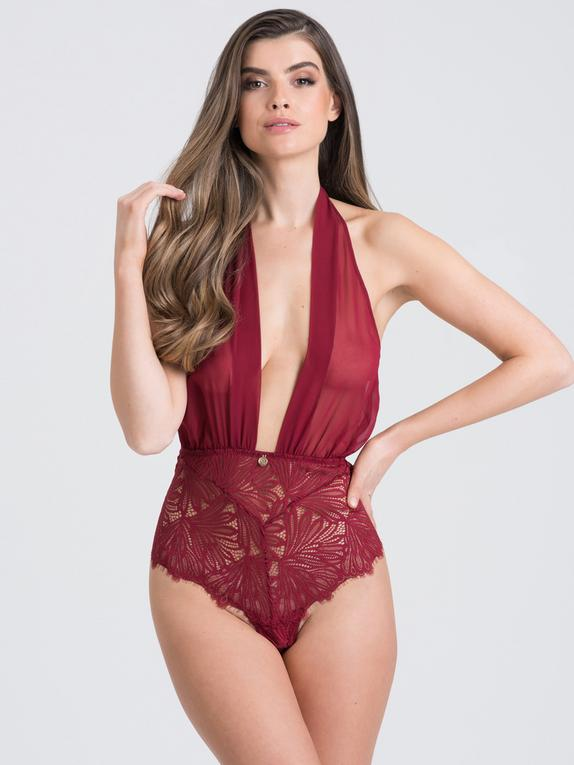 Fifty Shades of Grey Captivate Wine Chiffon Plunge Body, Red, hi-res