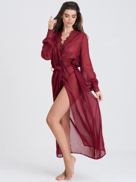 Fifty Shades of Grey Captivate Wine Chiffon and Lace Robe
