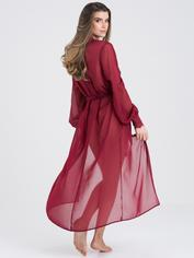 Fifty Shades of Grey Captivate Wine Chiffon and Lace Robe, Red, hi-res