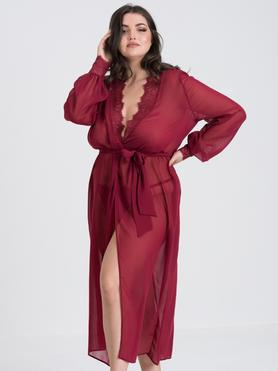 Fifty Shades of Grey Captivate Plus Size Wine Chiffon and Lace Robe
