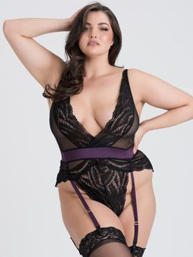 Lovehoney Plus Size Empress Purple Satin and Lace Body