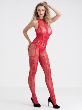 Lovehoney Red Lace Crotchless Basque Bodystocking