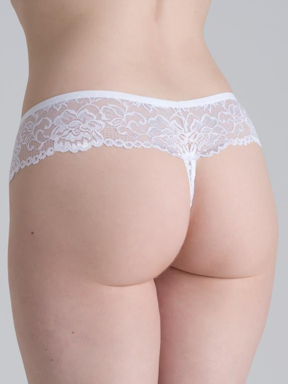 Lovehoney Flirty Black Lace Thong, White, hi-res