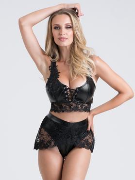 Lovehoney Fierce Diva Faux Leather Lace-Up Crotchless Bra Set