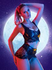 Lovehoney Fierce Diva Faux Leather Lace-Up Crotchless Bra Set , Black, hi-res