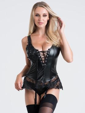 Lovehoney Fierce Diva Faux Leather Lace-Up Crotchless Bustier Set