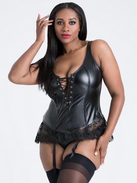 Lovehoney Plus Size Fierce Diva Faux Leather Lace-Up Crotchless Bustier Set