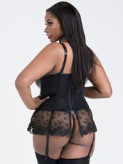 Lovehoney Fierce Diva Faux Leather Lace-Up Crotchless Bustier Set, Black, hi-res