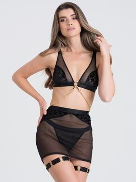 Fifty Shades of Grey Captivate Black Flocked Mesh Bra and Skirt Set