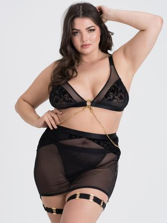 Fifty Shades of Grey Captivate Plus Size Black Flocked Mesh Bra and Skirt Set