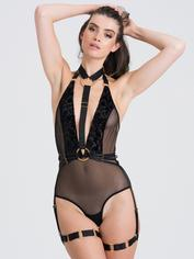 Fifty Shades of Grey Captivate Black Flocked Mesh Harness Teddy, Black, hi-res