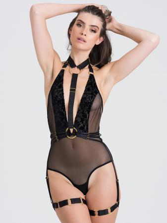 Fifty Shades of Grey Captivate Black Flocked Mesh Harness Teddy