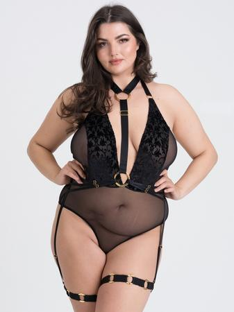 Fifty Shades of Grey Captivate Plus Size Black Flocked Mesh Harness Teddy