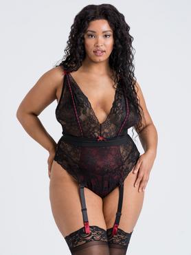 Lovehoney Plus Size Twilight Rose Black Lace Garter Body