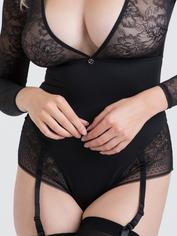 Lovehoney Hourglass Black Smoothing Long Sleeve Crotchless Body, Black, hi-res