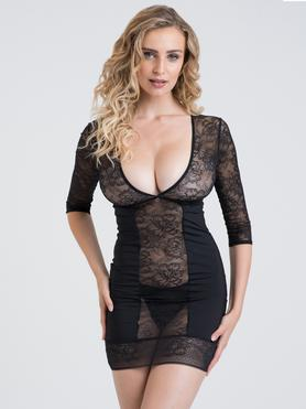 Lovehoney Hourglass Black Smoothing Three Quarter Sleeve Dress