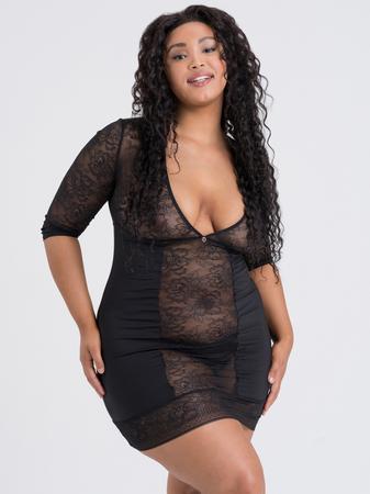 Lovehoney Plus Size Hourglass Black Smoothing Three Quarter Sleeve Dress