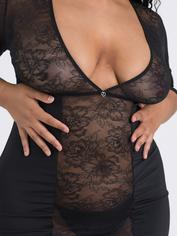 Lovehoney Hourglass Black Smoothing Three Quarter Sleeve Dress, Black, hi-res
