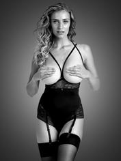 Lovehoney Hourglass Black Smoothing Open-Cup Crotchless Body, Black, hi-res