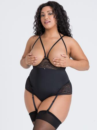 Lovehoney Plus Size Hourglass Black Smoothing Open-Cup Crotchless Teddy