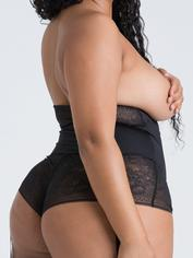 Lovehoney Hourglass Black Smoothing Open-Cup Crotchless Teddy, Black, hi-res