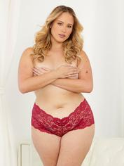Escante Dark Cherry Red Lace Shorts, Red, hi-res