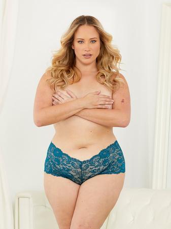 Escante Plus Size Teal Blue Lace Shorts
