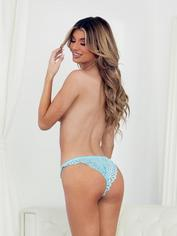 Escante Tropical Sky Blue Lace Tanga Briefs, Blue, hi-res
