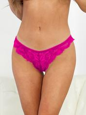 Escante Hot Pink Lace Tanga Briefs, Pink, hi-res
