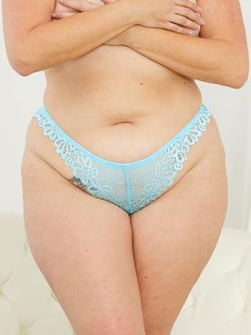 Escante Plus Size Tropical Sky Blue Lace Tanga Briefs