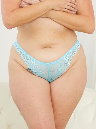 Escante Plus Size Tropical Sky Blue Lace Tanga Briefs