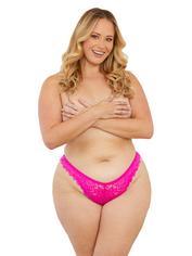Escante Plus Size Hot Pink Lace Tanga Briefs, Pink, hi-res