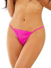 Escante Hot Pink Lace G-String, Pink, hi-res