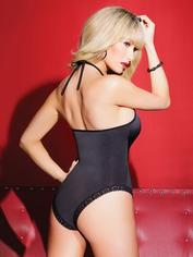 Coquette Black Lace Front Halterneck Body, Black, hi-res
