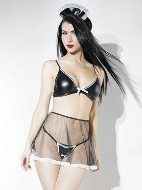 Coquette French Maid Wet Look Bra and Skirt Set