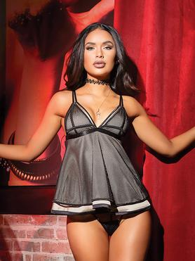 Coquette Black Fishnet Double-Layered Babydoll Set