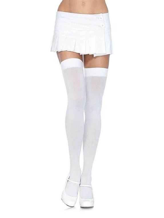 Leg Avenue White Over-the-Knee Opaque Thigh-Highs, White, hi-res
